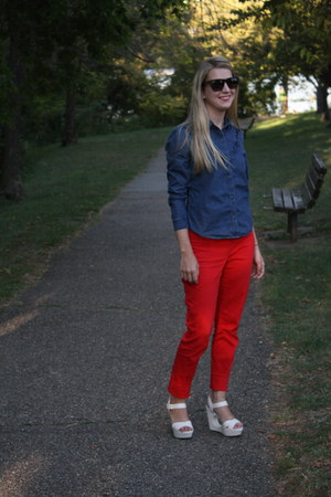 red H&M pants - navy Gap shirt - green Forever 21 sunglasses