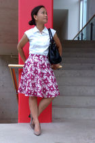 white Esprit top - pink RW & Co skirt - beige Aldo shoes - black unknown purse