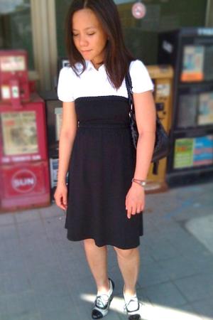 white shirt - black dress - black purse - black Aldo shoes
