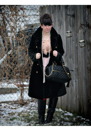 black vintage boots - neutral Target dress - black thrifted vintage coat - light