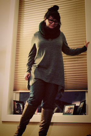 brown Target boots - blue Target jeans - green handmade scarf - heather gray H&M
