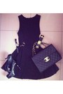 Zara-dress-vintage-chanel-bag-hermes-bracelet-ysl-heels