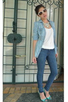 light blue jeans Guess jacket - blue jeggings J Brand leggings