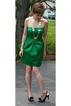 green macys Jump Girl dress - black DSW shoes - gold Icing earrings