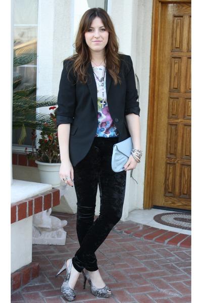 Zara blazer - f21 pants - Lush blouse - steven steve madden shoes - vintage purs