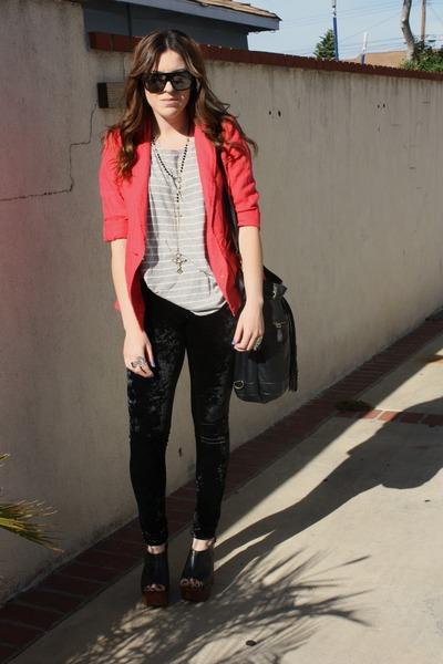 f21 leggings - Jeffrey Campbell shoes - f21 blazer - f21 bag - Gucci sunglasses