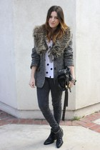 franco sarto boots - vintage blazer - H&M t-shirt