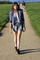 Forever 21 boots - Urban Outfitters jacket - H&M shirt - foreign exchange shorts