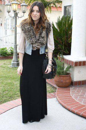 faux fur collar foreign exchange scarf - asos bag - H&amp;M skirt - H&amp;M blouse - Nor