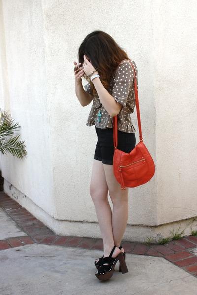 bag H&M bag - shorts H&M skirt - top vintage top - shoes BCBGeneration heels