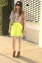 Urban Outfitters skirt - Sole Society boots - Sway Chic blouse