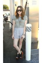 alternative apparel t-shirt - Nordstrom Rack shorts - Jeffrey Campbell shoes - G