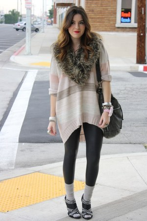 H&M sweater - Guess leggings - Zara shoes - foreign exchange