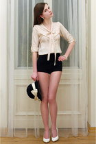 eggshell with bow blouse - black with bow River Island hat