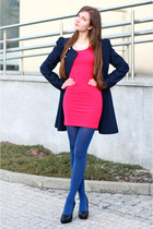 navy BB Fashion coat - hot pink asos dress - blue tights - black Embis pumps