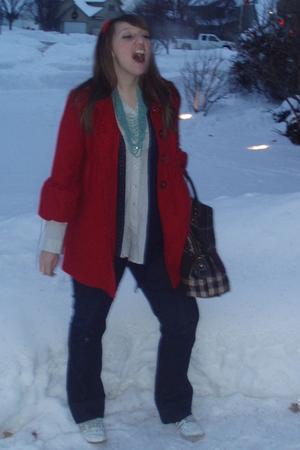 modcloth shirt - adidas shoes - Younkers coat - necklace accessories - ae purse