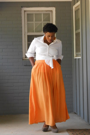 orange Zara skirt - white basic shirt - tan Mossimo heels - gold Target watch