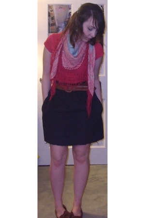 H&M scarf - Forever21 shirt - glam skirt - belt - shoes - H&M earrings