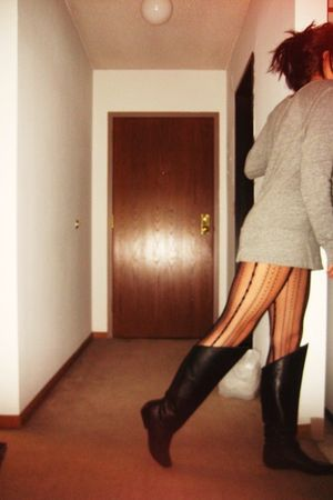 black thrifted boots - black Betsy Johnson tights - gray American Apparel top