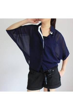 sheer blue ARIUS blouse - sheer ARIUS shirt - black ARIUS shorts