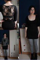 black new look dress - gray new look sweater - silver Topshop tights - black Dr
