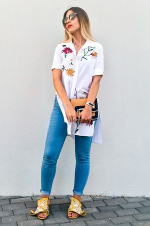 white embroidered VIPme shirt - mustard embroidered Jessica Buurman sandals