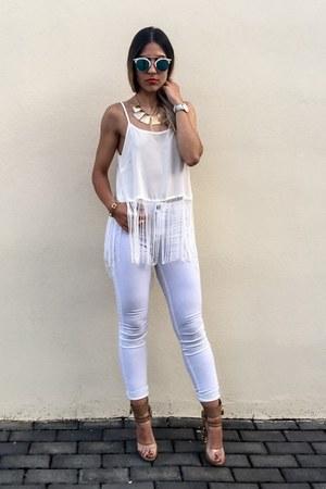 white white Bershka jeans - white fringe Lookbook Store top