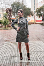 navy navy By Closset dress - dark brown boots xti boots