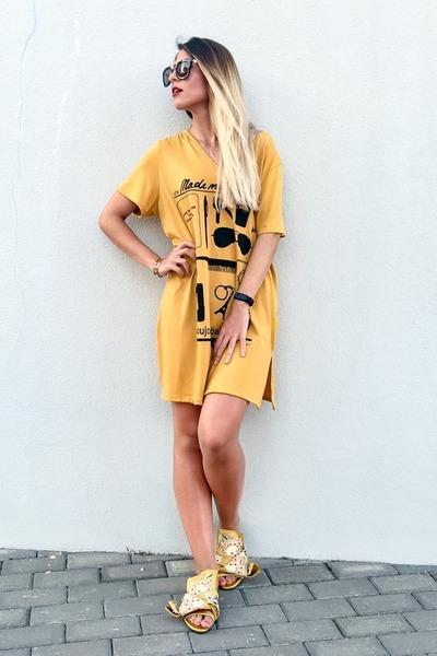 mustard dress 21 botones dress - yellow embroidered Jessica Buurman sandals