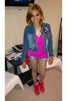 blue denim cropped jacket - hot pink Kenneth Cole top