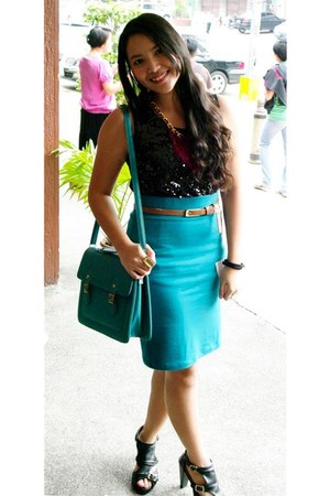 teal Forever 21 skirt - black sequined For Me blouse