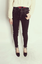 GLEECE high waist lace up skinny jeans