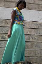 yellow leather necklace - aquamarine halter dress - top