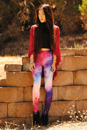 galaxy Mad Lady leggings - red chiffon shopsosie cardigan
