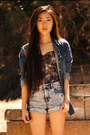 Denim-solilor-jacket-acid-wash-denim-forever-21-shorts