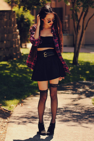 pink plaid Solilor shirt - OASAP tights - romwe skirt