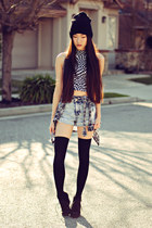 plaid PacSun shirt - acid wash denim Forever 21 shorts - Motel Rocks top