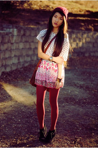 floral print Forever 21 dress - leather buckle Urban Outfitters bag