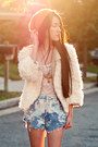 Faux-fur-sugarlips-jacket-paradox-shorts-lace-tank-urban-outfitters-top