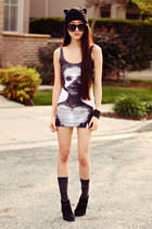 nylon printed dreamachine dress - cat ear beanie H&M hat - xo grip Soxxy socks