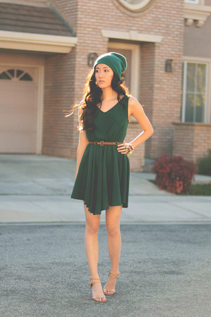 green skater ellysage dress - floral Roses and Clementines bracelet
