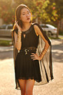 Chiffon-cape-oasap-dress-lock-and-key-romwe-belt