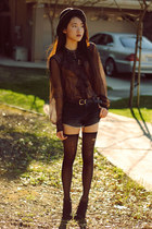 DIY socks - black denim Love of Eos shorts - sheer ruffle Ralph Lauren blouse