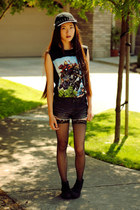Hot Topic t-shirt - black cutoffs Love of Eos shorts