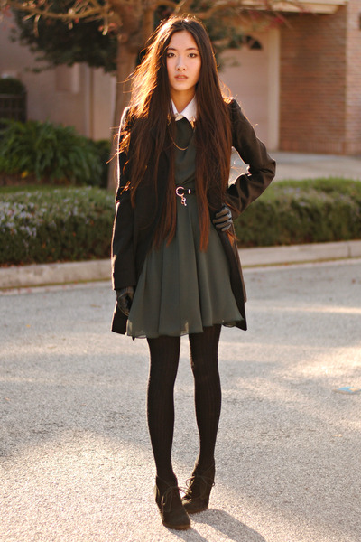 green chiffon Love dress - H&M coat - lock and key romwe belt