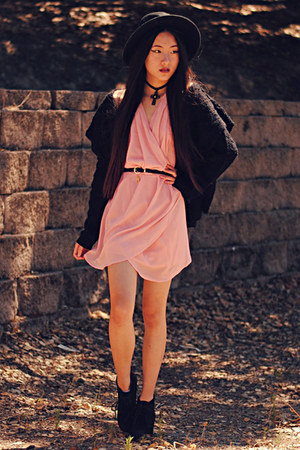 fuzzy Shoppalu jacket - pink chiffon Kiwilook dress - lock and key romwe belt