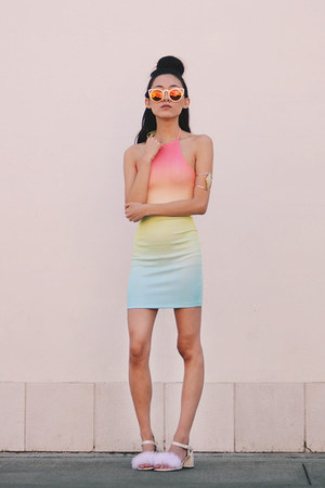 fluffy cloud DIY heels - DIY dress - cut out cat eye Freyrs sunglasses