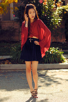 red chiffon shopsosie cardigan - lock and key romwe belt