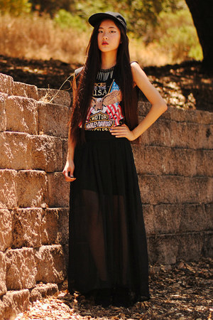 chiffon maxi H&amp;M skirt - baseball cap Target hat - romwe necklace