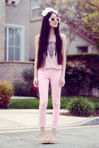pink skinny 2020AVE jeans - white baroque OASAP sunglasses - shopakira top